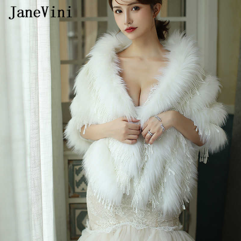 JaneVini Fashion Ivory Faux Fur Winter Bolero Bridal Shawl Wrap Fur Wedding Capes Elegant Women Cloak Jacket for Evening Party