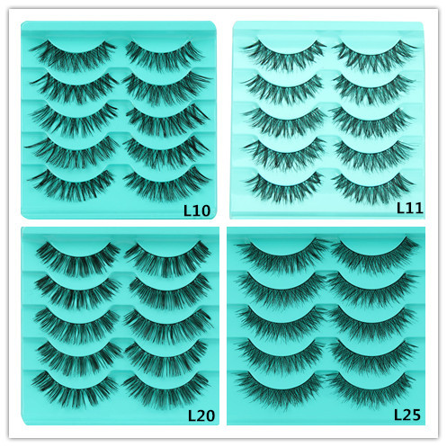 False Eyelashes 5 Pair/Lot Four Type Crisscross False Eyelashes Transparent Lashes Voluminous Eye Lashes False Eyelashes #40
