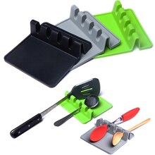 1Pcs Heat Resistant Silicone Spoon Rest Ladle Utensil Holder Organizer Rack Storage Kitchen Accessories Cooking Tools