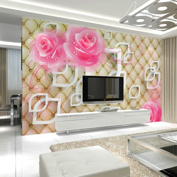 Large TV Background Wallpaper Mural Living Room Bedroom European Style Simple Wallpaper Warm Rose 3D Non-woven Mural