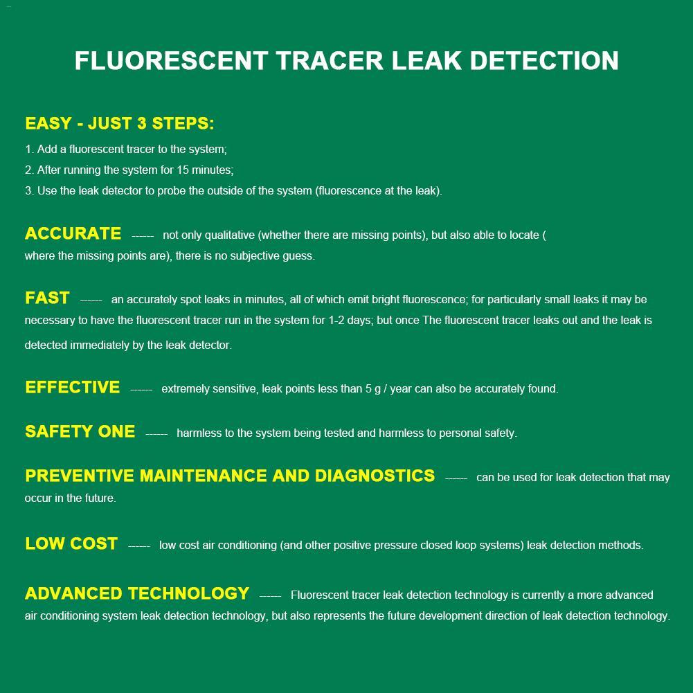 Automotive Air Conditioning Leak Detection Tool Check Leak Universal Fluorescer Test Kit Repair Equipment