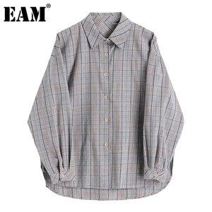 [EAM] Women Gray Plaid Split Joint Big Size Blouse New Lapel Long Sleeve Loose Fit Shirt Fashion Tide Spring Autumn 2020 1DA302