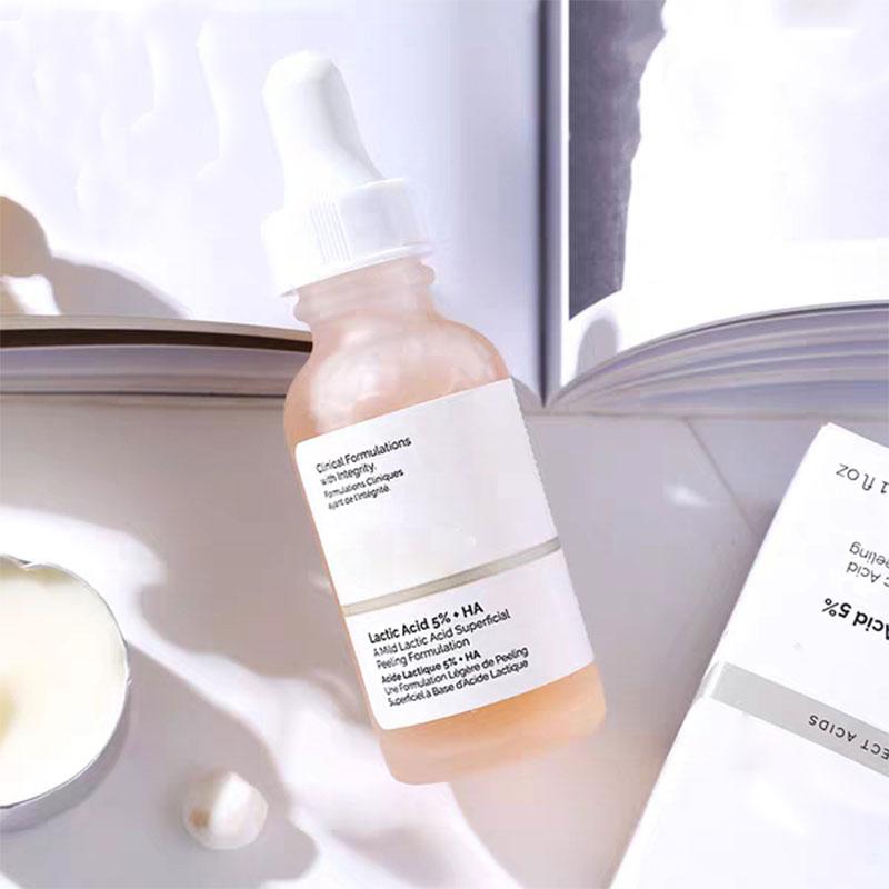 The Ordinary Lactic Acid 5% + HA Hyaluronic Original Liquid Peeling Formulation Facial Essence Brightening Remove Dullness Aging