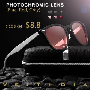 $4.00 off discount photochromic sunglasses men polarized square eyewear black glasses for women(China)