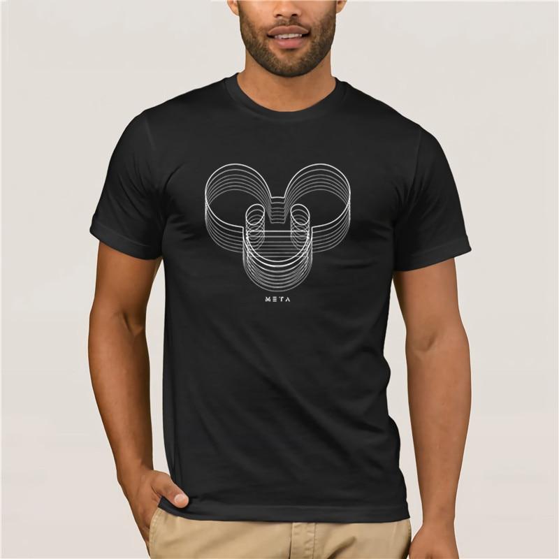 Men's Print Casual 100% Cotton T-Shirt Popular  New Men Deadmau5  Meta Threads Men's White Short Sleeve T-shirt