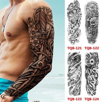 Tatuajes falsos prediseñados de manga de brazo completo, calaveras grandes, tatuajes temporales a prueba de agua, tatuaje de manga de brazo grande