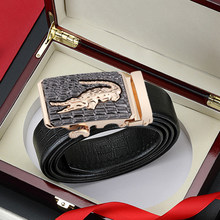 Leather Belts for Men 3.5cm Width Brand Fashion Automatic Buckle Black Genuine Leather Belt Men's Belts Cow