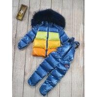 Children's clothing sets baby girl clothes winter boy down coat+pants winterjas jongens kid jacket natural big fur parka toddler