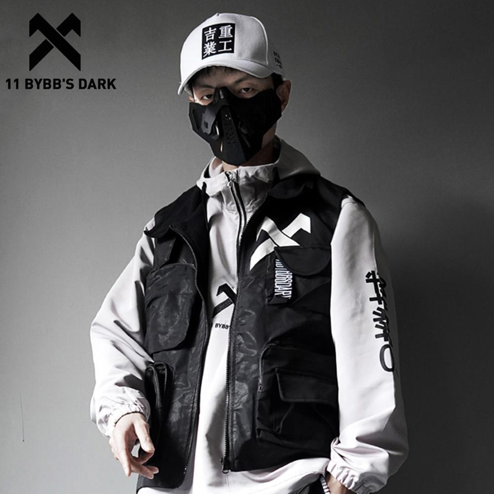 11 BYBB'S DARK Vintage Letter Embroidered Mens Cargo Vests Streetwear 2019 Hip Hop Sleeveless Tops Harajuku Multi Pockets Coats