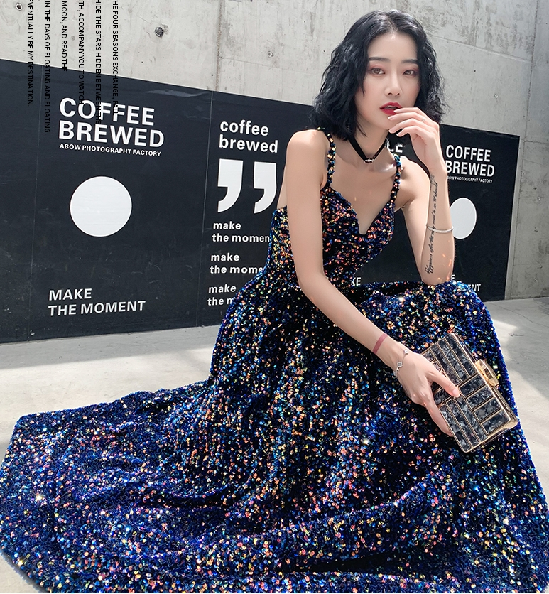 Black Bling Sparkly Prom Dresses 2020 Dubai Long Straps Sweetheart Arabic Evening Party Gowns 2019 Gold Sequins Formal Dress