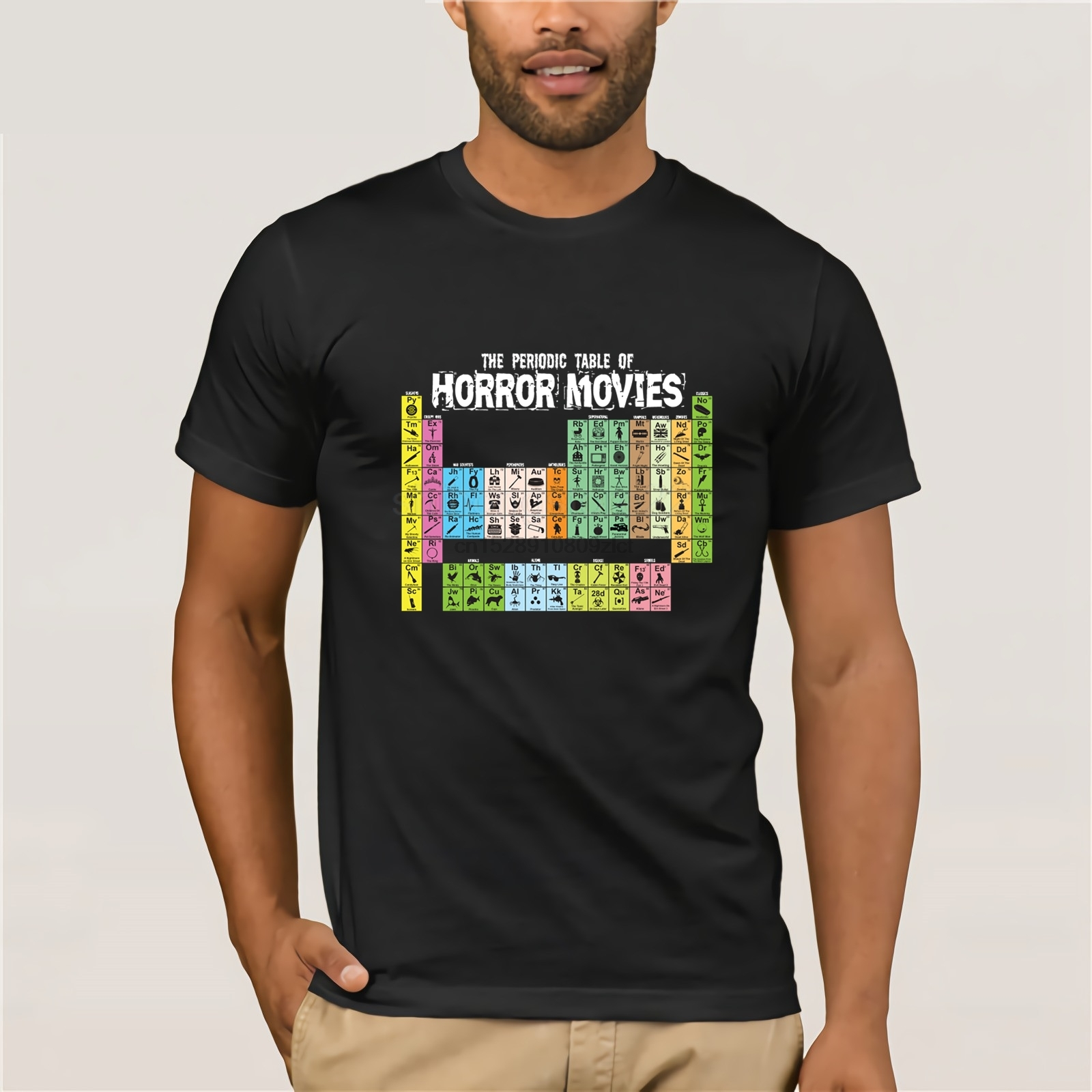 100% cotton O-neck printed T-shirt The Periodic Table of Horror Movies T-Shirt