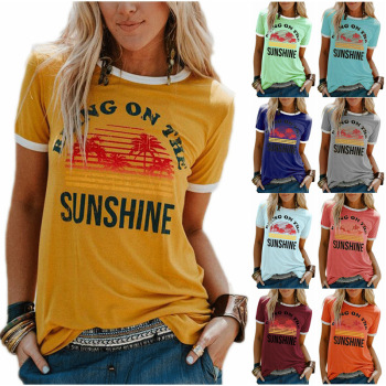 oversized loose casual cartoon print kawaii o neck print t shirt solid color t shirt women s short sleeve letter New Women's T-Shirt Bring On The Sunshine Letter Print Top Tees O Neck Short Sleeve Casual T Shirt