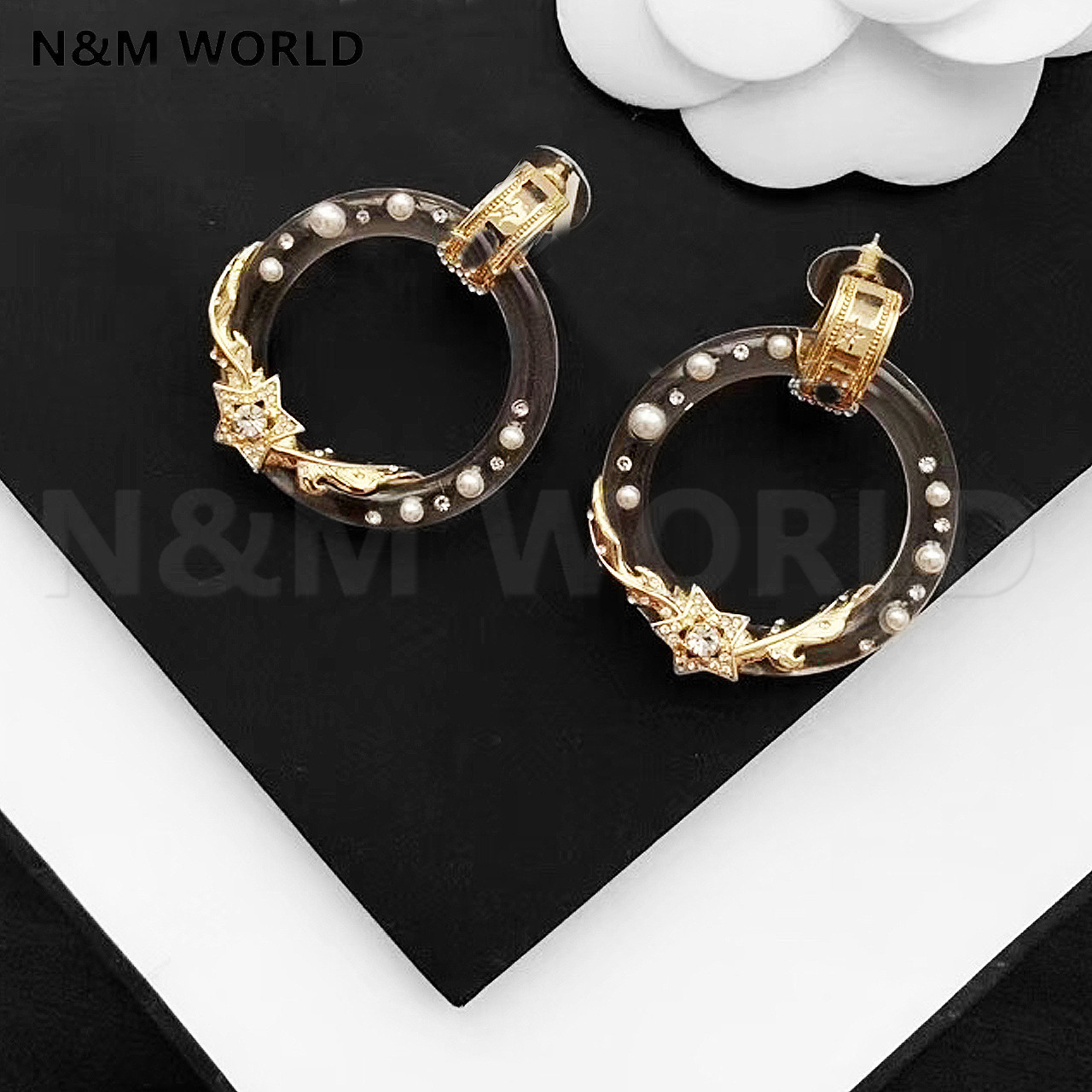 New Transparent Gold Stars Hoop Earring Fashion Jewelry Simple New Style Accessories For Valentine's Day Gift Women Pretty Gift