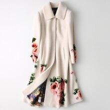 2019 女性の 100% カシミヤコートエレガントなフラワープリント毛皮のコートファッション冬暖かいロングポケット Casaco Feminino