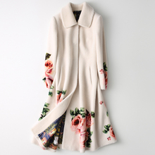 Furry Coat Women Pocket Flower-Print Warm Elegant 100%Cashmere-Coat Fashion Winter Long
