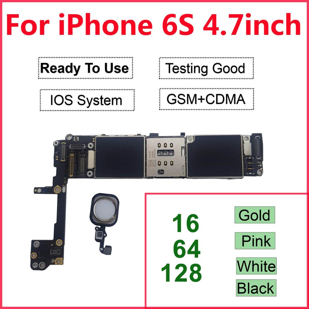 Free ICloud Unlocked For IPhone 6S Motherboard Touch Id For IPhone 6S 4.7'' 16GB 32GB 64GB Logic Board With Full Chips Mainboard