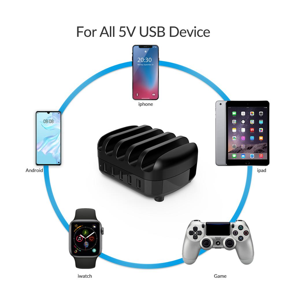 ORICO USB Charger Station Dock with Holder 40W 5V2.4A*5 USB Charging Free USB Cable for iphone ipad PC Kindle Tablet 6