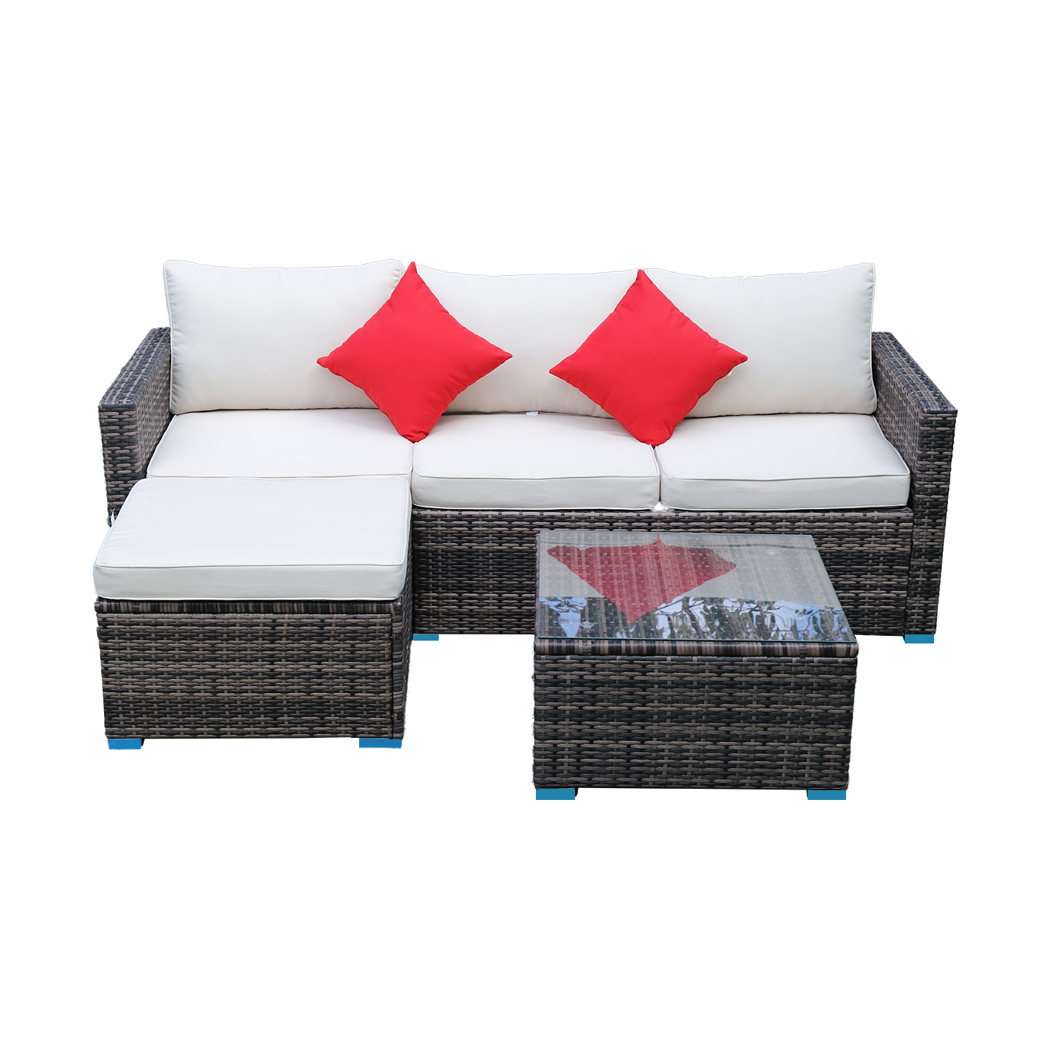 US Stock Panana 5pcs Patio Sectional Garden Sofa Set With Glass Coffee Table All-Weather PE Rattan Wicker Sets Cushioned