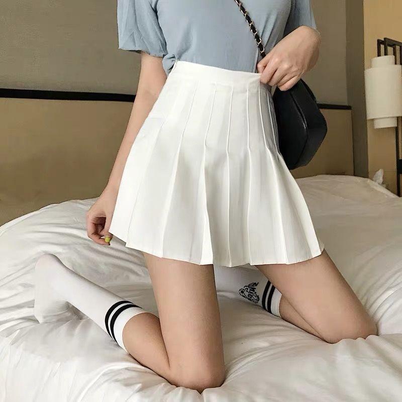 Sexy women short skirt cute female pleated skirt spring and autumn high waist solid color mini skirt summer female skirt 3
