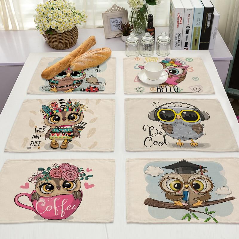 1Pcs Kawaii Owl Pattern Kitchen Placemat Cotton Linen Dining Table Mats Coaster Pad Bowl Cup Mat 42*32cm Home Decor ML0007