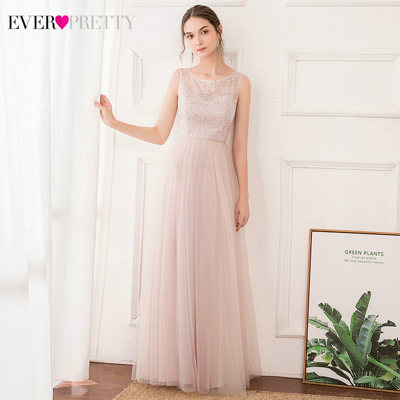Pink Bridesmaid Dresses Ever Pretty EP00740PK Sequined A-Line O-Neck Sleeveless Beaded Illusion Wedding Guest Gowns Vestidos