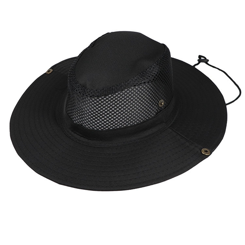 New Summer Breathable Mesh Beach Hats Man Wide Brim Sun Protection Ultraviolet-proof Collapsible Bucket Hat Fishing Hat Outdoors