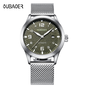 Mens Watches Automatic Watch Mechanical Army Green Men Waterproof Date Steel Man Mesh Strap Mechanical Wrist Watch Male Clock man automatic mechanical watches burei fashion brand male luxury clock calendar sapphire steel band 50m waterproof watch mens
