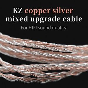 Image 5 - KZ אוזניות 8 ליבת נחושת כסף מעורב שדרוג כבל 3.5mm 2Pin MMCX מחבר 0.78 0.75 עבור KZ CCA TFZ EDX Z1 S2 SA08 ASF ASX