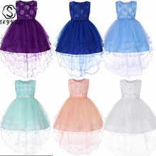 Skyyue Wedding Dress for Girl Kids flower Appliques Crystal Tulle Ball Gown Kid Party Communion Dresses white pink 2019 729 gorgeous vestidos communion ruffles bow button back lace appliques christmas little girl pink tulle ball gown 0 12 year old 2017