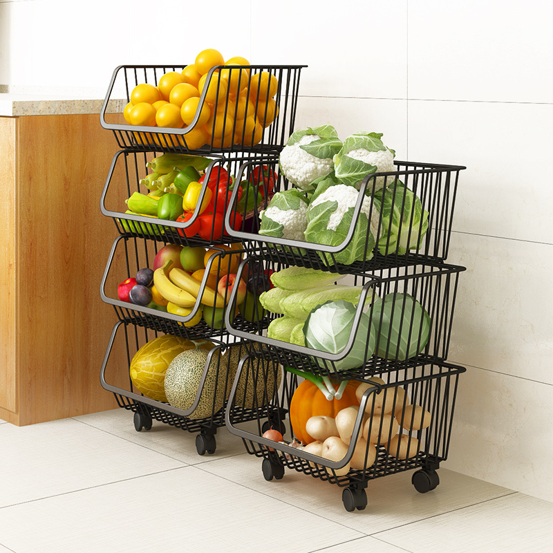 Kitchen Shelf Vegetable Rack Floor Multi-layer Dish Rack Storage Bathroom Storage Supplies Vegetable Basket Rack Stroller