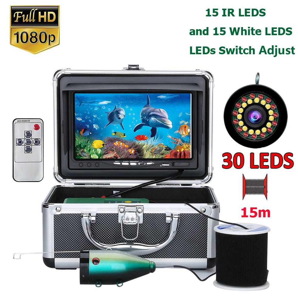HD 1280*720 Screen Double Lamp 1080P 15m/30m Camera   Fish Finder Underwater Fishing Camera For Fishing