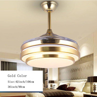 Modern Ceiling Fan Lights Lamps Remote Control 36 42 inch Gold Silver Led lumiere Dining room Bedroom Fan Lighting Free Shipping