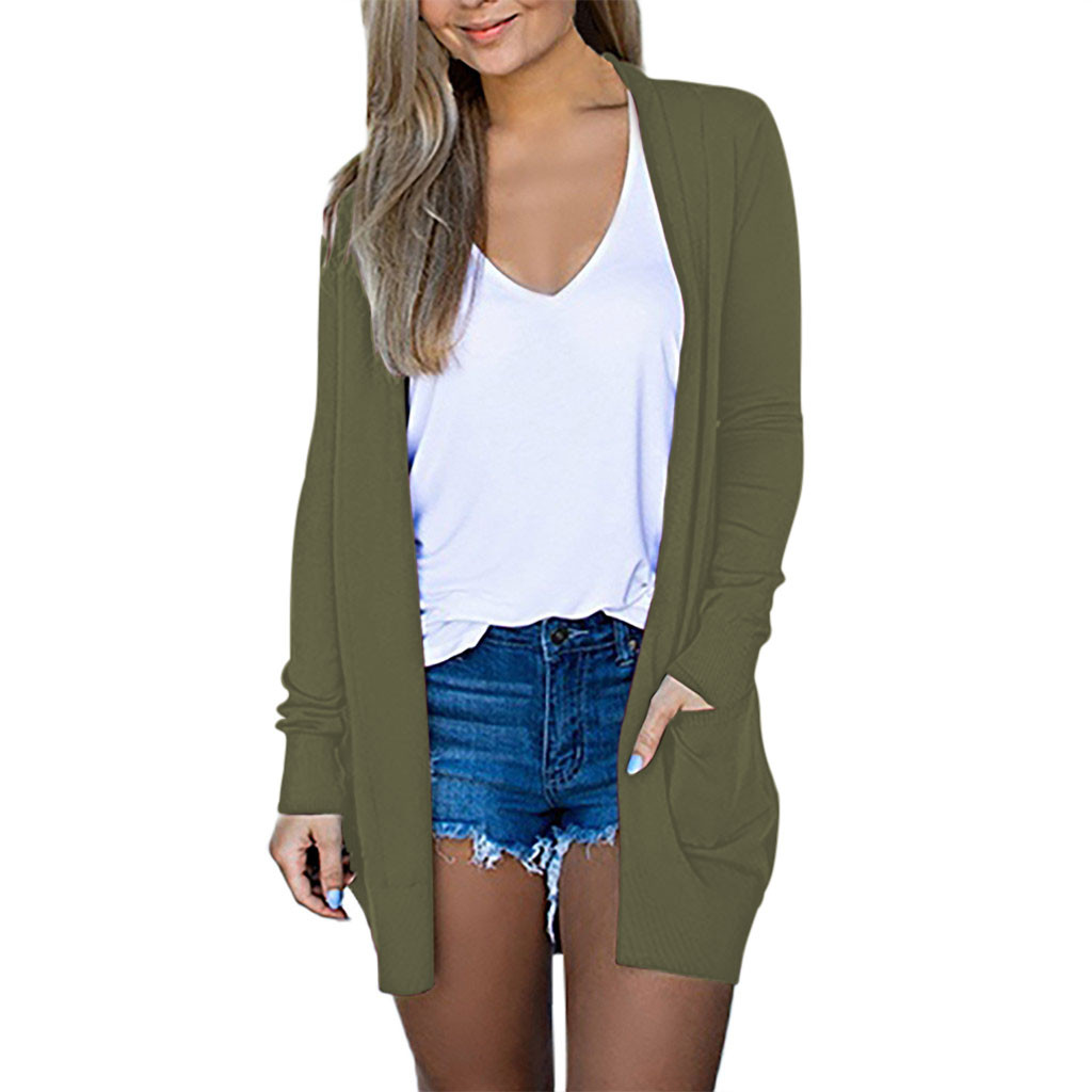 Womens Solid V-neck Winter Women Sweater Cardigan Long Sleeve Coat Pockets Outerwear Femme Top Ladies Clothing #WS