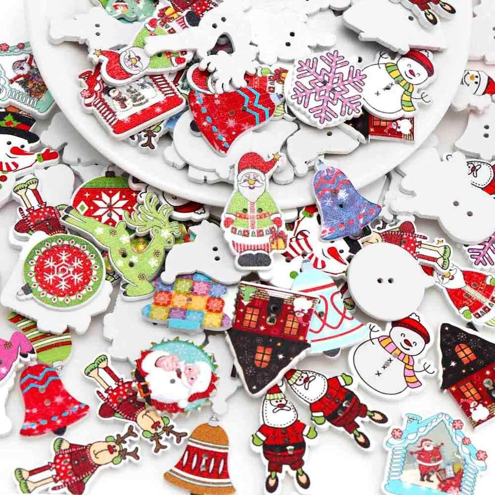 Mix 30pc boże narodzenie 2-otwór Snowman drzewo ełk drewniany guziki do scrapbookingu rzemiosła DIY dla dzieci dla dzieci akcesoria krawieckie do ubrań
