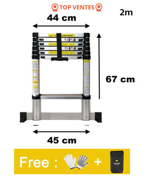2m Ladder Retractable Folding Aluminum Herringbone Ladder Step Telescopic Extension Tall Multi Purpose Telescopic Industrial Hwc