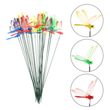 30pcs Artificial Dragonfly Stakes Dragonfly Stick Garden Decoration Random Color