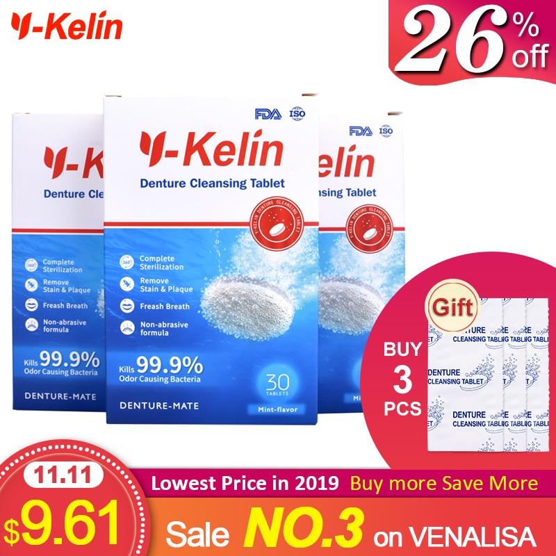 Y-Kelin Denture Cleansing Tablets 96 Tabs Denture Effervescent Tablets 96 Pills Denture Cleaner