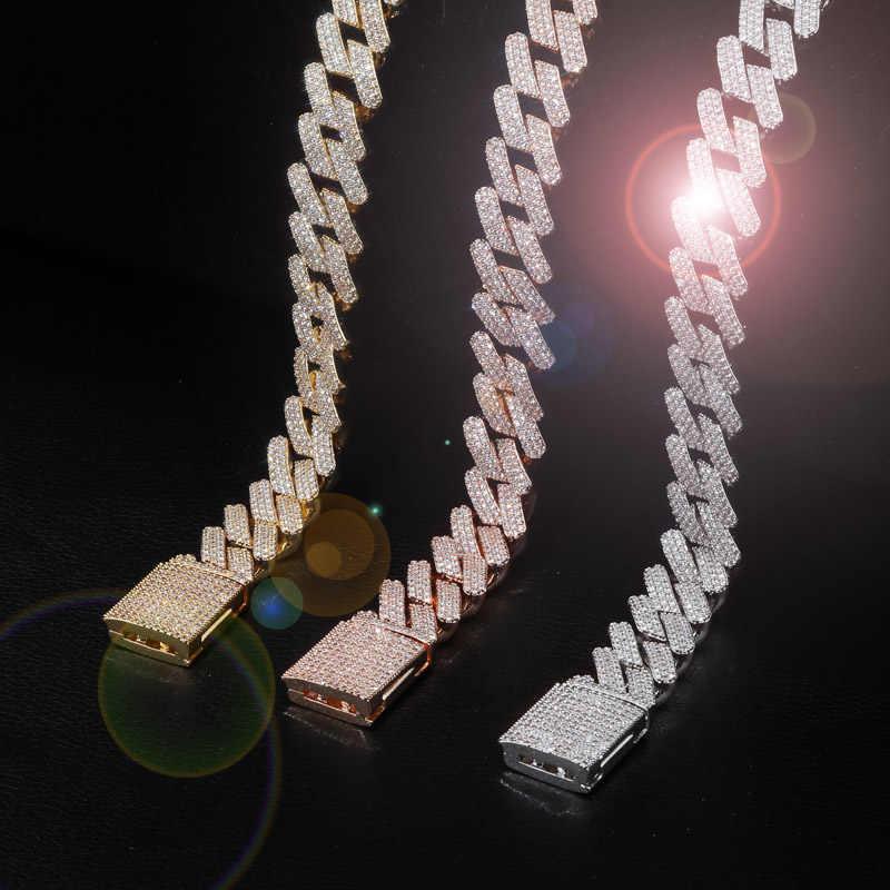 TOPGRILLZ 20mm Miami najnowszy Box zapięcie kubański Link łańcuch ciężki mrożona naszyjnik cyrkoniowy Choker Bling Bling Hip hop biżuteria dla mężczyźni