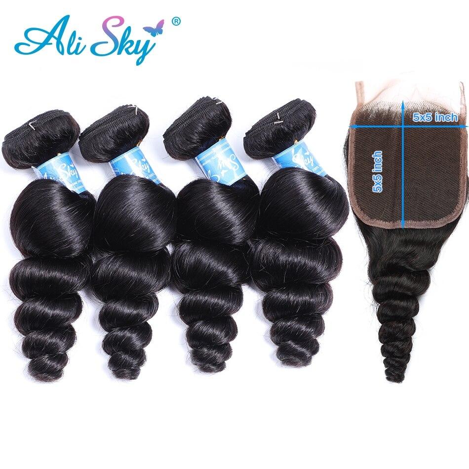 Alisky malaisien vague lâche 4 paquets avec 5*5 fermeture à lacets gratuit/moyen/trois parties Remy couleur naturelle 100% Extension de cheveux humains