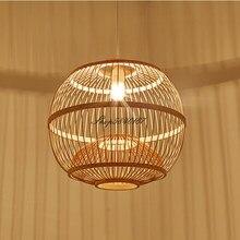 Estilo japonês luzes penduradas sala de estar pingente cozinha ilha pingente luzes mão fazer madeira bambu lâmpada da sala jantar luz e27