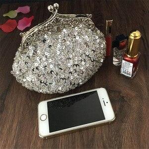 Image 2 - 2020 새로운 도착 클러치 지갑 실버 크리스탈 이브닝 백 여성 웨딩 Diamantes 파티 신부 핸드백 골드 스카이 블루 WY06