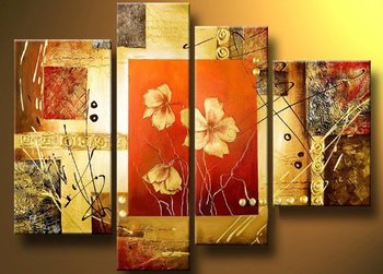 4 Piece Abstract Yellow Flower Oil Painting Hand-Painted Modern Canvas Wall Art Living Room Wall Decor Home Decoration