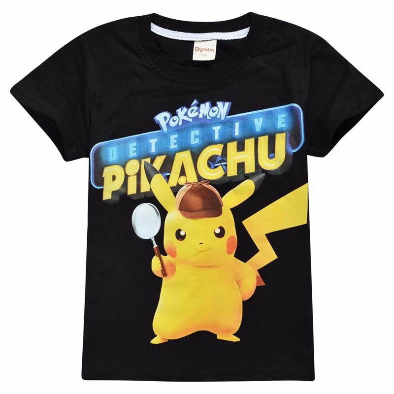 Children Summer Pokemon T-shirts Boys Girls Pokemon Go Pikachu Cartoon Printed Cotton Short Sleeves T-shirts Kids Birthday Gifts