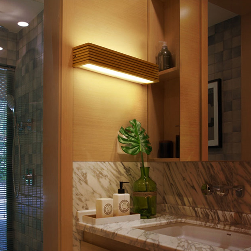 Creative Nordic Bedroom Bedside Wood Wall Light 12W Foyer Study Background Lamp Bathroom Mirror Lighting All Wall Sconce Bra