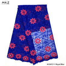 Mr.Z Latest Nigerian French Net Lace Fabric Embroidered beaded African High Quality Dubai Guipure Mesh 5 Yards
