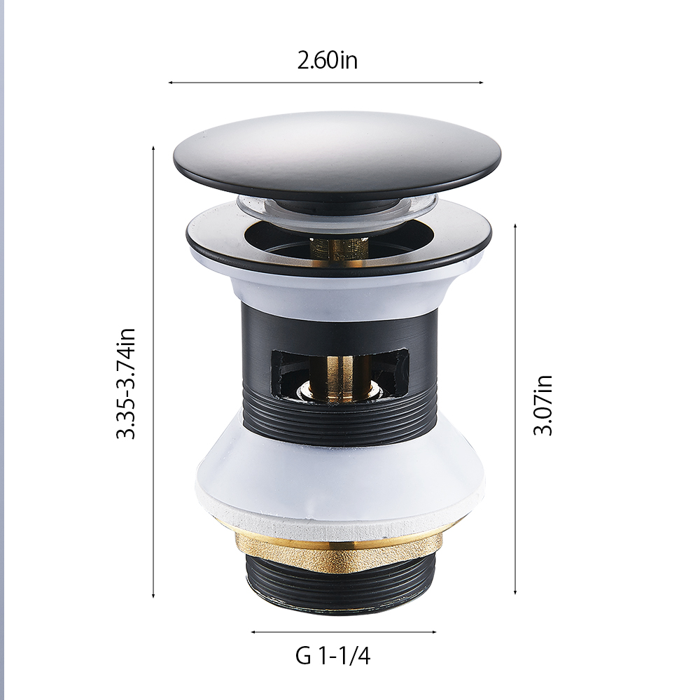 Luxury Sink Pop Up Drain stopper Basin Bathroom Lavatory Kitchen bathtub accessories Cap Washbasin plug Brass Black Gold White in Drains from Home Improvement