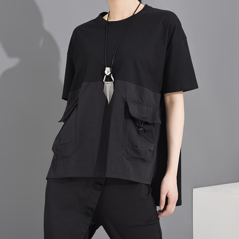 [EAM] Women Black Pocket Irregular Split Big Size T-shirt New Round Neck Short Sleeve  Fashion Tide  Spring Summer 2020 1T70601 5
