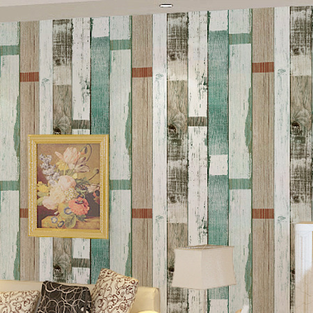 Mediterranean Blue Retro Vertical Striped Wallpaper Nostalgic Network Coffee Shop Clothing Store Wood Grain Wallpaper