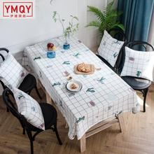 The New Waterproof polyester rectangular tablecloth white plaid cactus printing fashion table cloth square household table cover