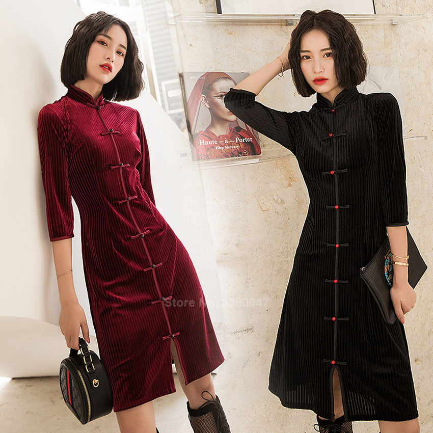 Autumn Winter Velvet Women Cheongsam Dress Traditional Chinese Wedding Dresses For Girl New Year Elegant Qipao Tang Suit Dress
